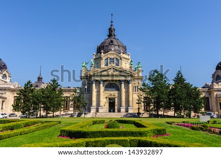 Szechenyi Medicinal Bath in Budapest, the largest medicinal bath in Europe. - stock photo