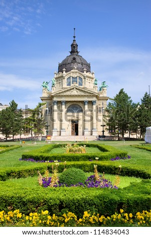 Szechenyi Medicinal Thermal Baths and Spa Baroque architecture in Budapest, Hungary. - stock photo