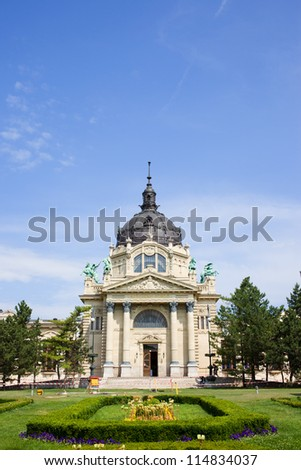 Szechenyi Medicinal Thermal Baths and Spa Neo-Baroque architecture in Budapest, Hungary. - stock photo