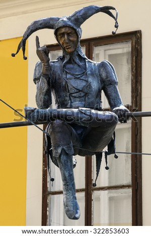SZEKESFEHERVAR, HUNGARY - MAY 1, 2015: Monument of Jester sitting on the Rope - stock photo