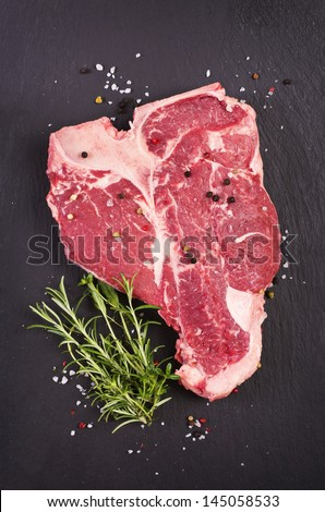 t-bone steak with spices - stock photo