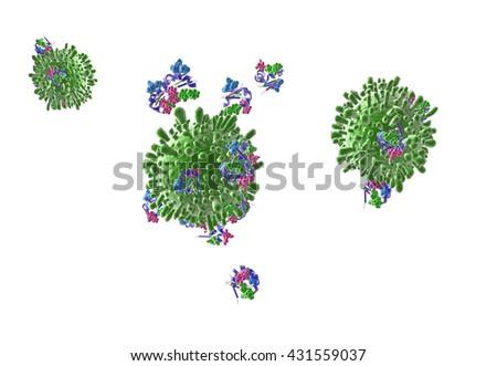 T cells 3D illustration - stock photo