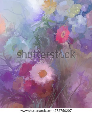 t.Flowers in soft color and blur style for background. - stock photo