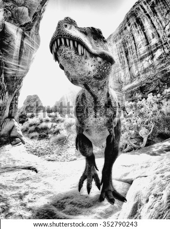 t-rex black and white - stock photo