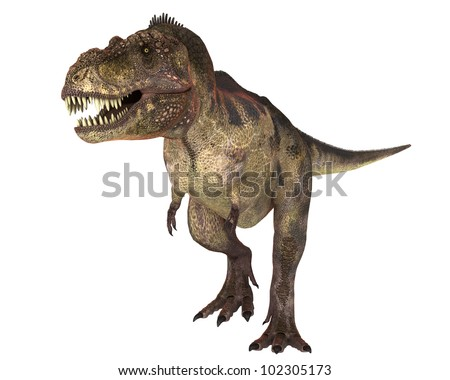 t-rex with blood in the face looking for more - stock photo