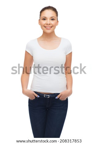 t-shirt design and people concept - smiling young woman in blank white t-shirt - stock photo
