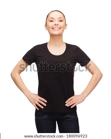 t-shirt design, happy people concept - smiling woman in blank black t-shirt - stock photo