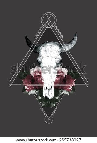 T-shirt graphic on dark background with buffalo skull. - stock photo