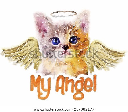 T-shirt Graphics/angel cat/cat illustration/watercolor - stock photo