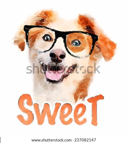 T-shirt Graphics / dog illustration/cute dog / Beautiful dog / isolated over a white background/watercolor - stock photo