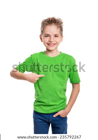 T-shirt on young man in front and behind isolated on white background - stock photo