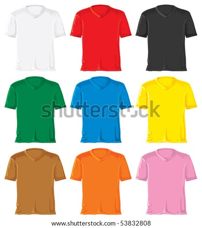 T-shirt set with triangle collar. Without gradients, great for printing. JPEG version - stock photo