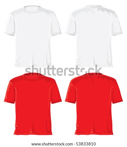 T-shirt set. Without gradients, great for printing. White and red. JPEG version - stock photo