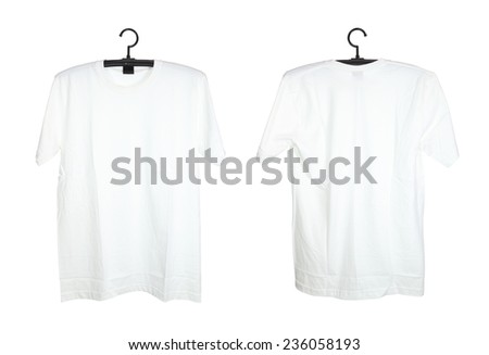 t-shirt template on hange isolated on white background - stock photo