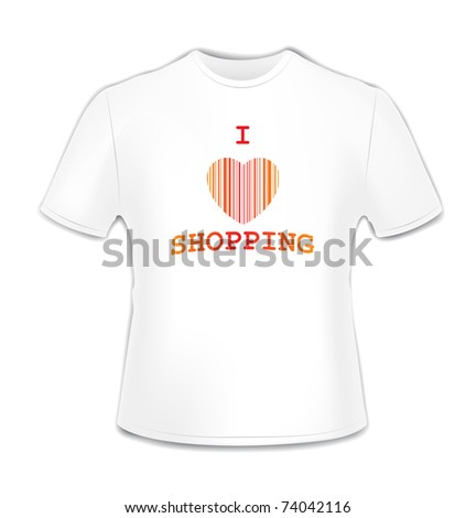 T-shirt with bar code heart over white illustration - stock photo