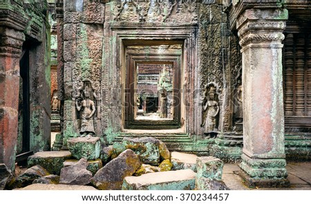 Ta Phrom temple ruins in Angkor, Siem Reap, Cambodia - stock photo