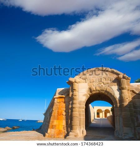 Tabarca Puerta de San Miguel de Tierra fort door arc in Alicante Spain - stock photo