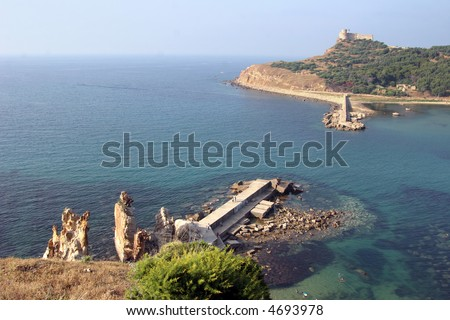 Tabarka, the Island with the Genoese Fort built in the 16th century at the harbour of Tabarka - stock photo