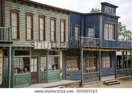 TABERNAS DESERT, ALMERIA, SPAIN - September 19, 2014: Hotel and hat shop in the western town - stock photo