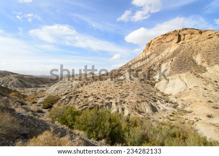 Tabernas desert, in spanish Desierto de Tabernas. Europe only desert. Almeria, andalusia region, Spain. Protected wilderness area and location for spaghetti western movies - stock photo