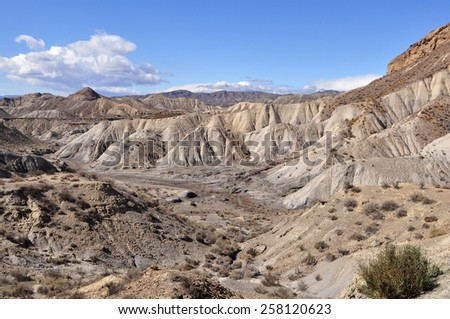 Tabernas desert near Almeria,Spain, - stock photo