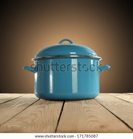 table and blue pot  - stock photo