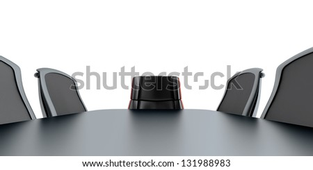 table and chairs in modern meeting room - stock photo