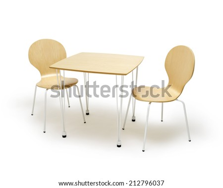 table and chairs isolated on white background - stock photo