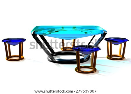 table and chairs made of precious stones - stock photo