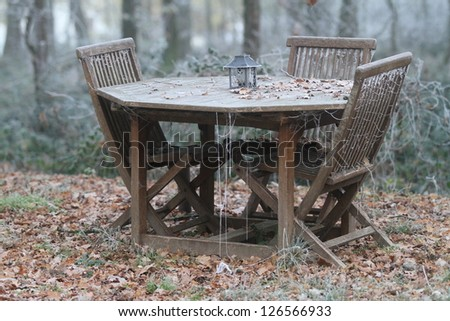 Table and chairs set in frozen garden - stock photo