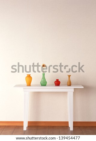 table and vase - stock photo