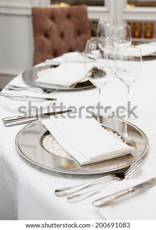 Table arrangement in an expensive restaurant - stock photo