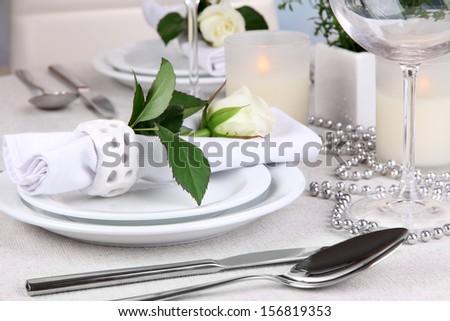 Table arrangement in restaurant - stock photo