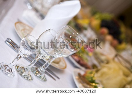 Table at the restaurant. Glass. - stock photo