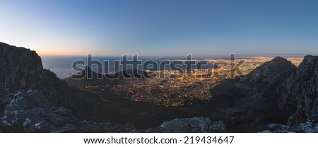 Table Bay from Table Mountain - stock photo