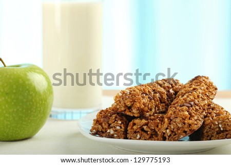 Table Breakfast - Continental Breakfast, apple, cereals and milk - stock photo