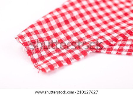 table cloth with red and white grid - stock photo