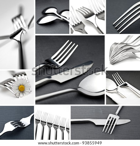 Table cutlery collage - stock photo