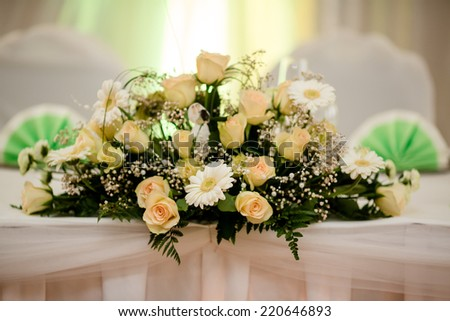 table decor wedding flowers  - stock photo