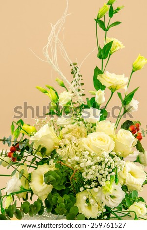 Table decor with flowers table numbers and candles - stock photo
