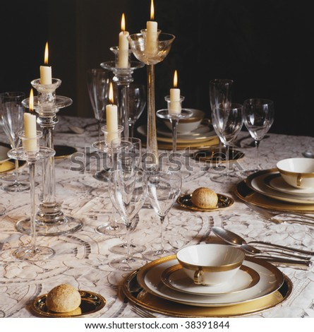 Table decorated for a holiday(party) - stock photo