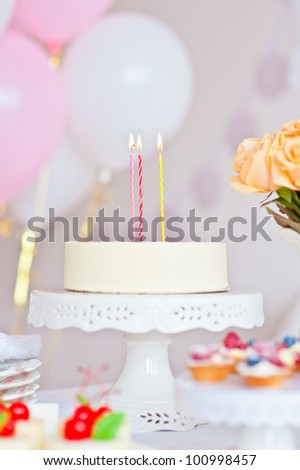 Table decorated for children's celebration party - stock photo