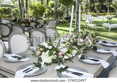 Table decorated for the wedding reception - stock photo