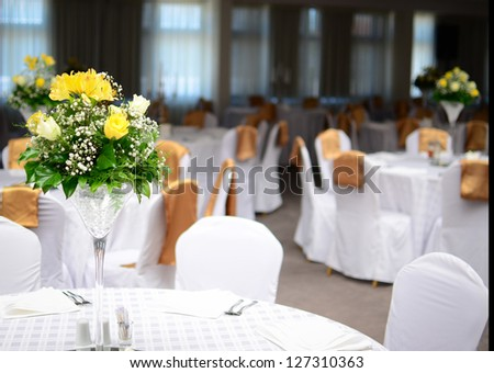 Table decorated for wedding - stock photo