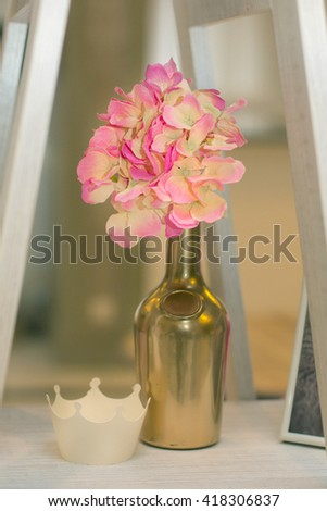 Table Decoration. Table set for a holiday dinner. Beautiful flowers on table in holiday day. - stock photo