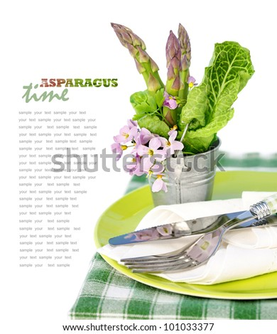 Table Decoration with Asparagus - stock photo