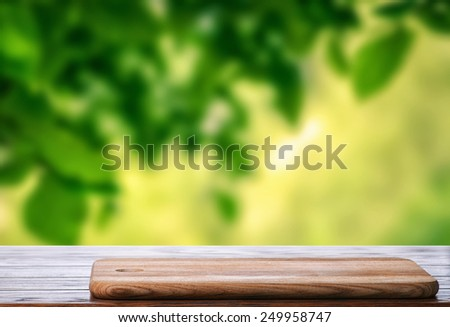 Table for cooking in the garden - stock photo