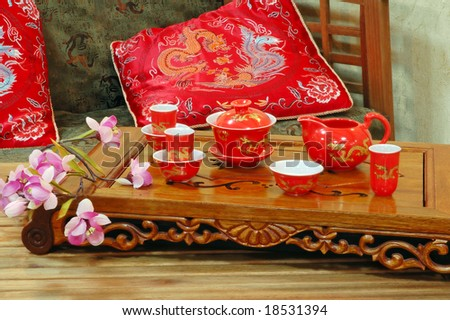 Table for tea ceremony in japanese or chinese restaurant. - stock photo