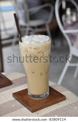 Table Ice Cold Coffee Glass - stock photo