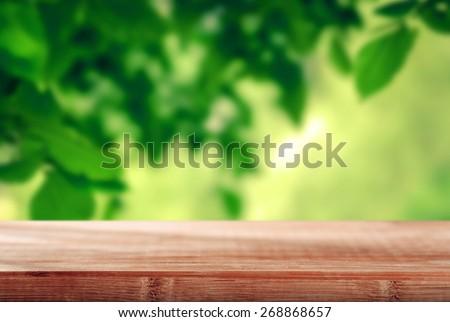 Table in the garden - stock photo